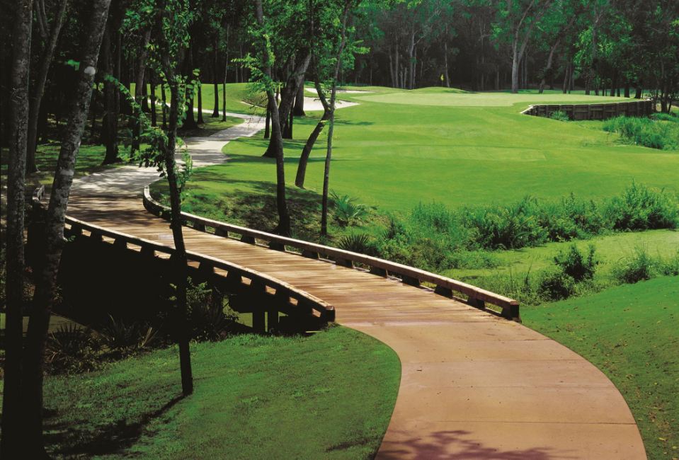 A bridge traverses a small ravine at BlackHorse Golf Club